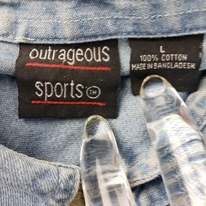 Outrageous Sports Tops - Denim Cat Shirt, Size Large